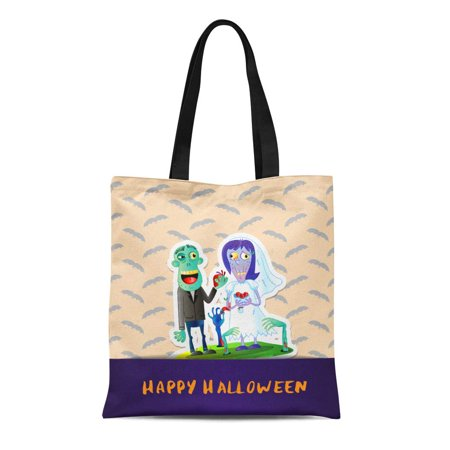 ASHLEIGH Canvas Tote Bag Happy Halloween Cute Zombie Wedding Couple in Graveyard Event Reusable Shoulder Grocery Shopping Bags Handbag](Brisbane Halloween Events)