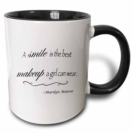 3dRose A smile is the best makeup a girl can wear, Marilyn Monroe quote - Two Tone Black Mug, (Best Tones For Girls)