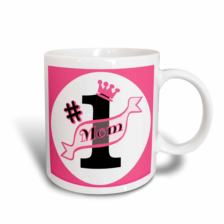 3dRose Number One Mom Pink, Ceramic Mug, 15 - ounce