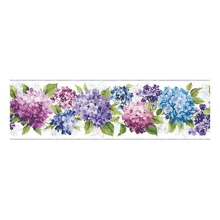 York Wallcoverings Kitchen and Bath KH7066BD Hydrangea Border, Cream / Purple / Red / Purple / Blue / - Purple Border