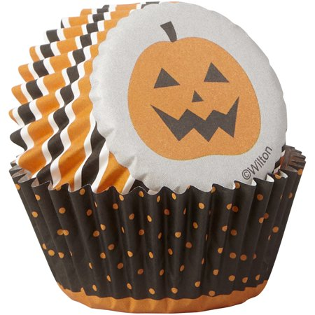 Wilton Trick or Treat and Jack-O'-Lantern Cupcake Liners, - Halloween Cupcakes For Kids