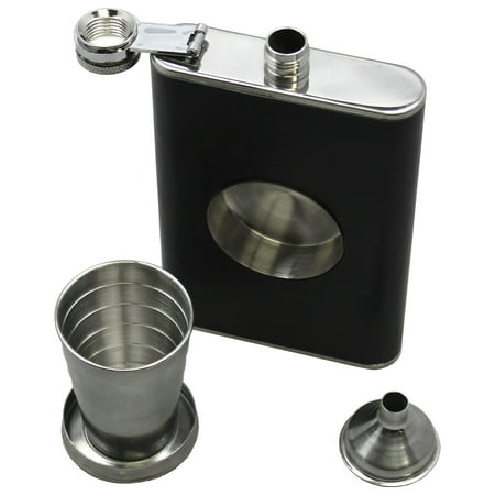 Garter With Flask (8 fluid ounce Stainless Steel Flask, with Funnel & Built-in Collapsible Shot)