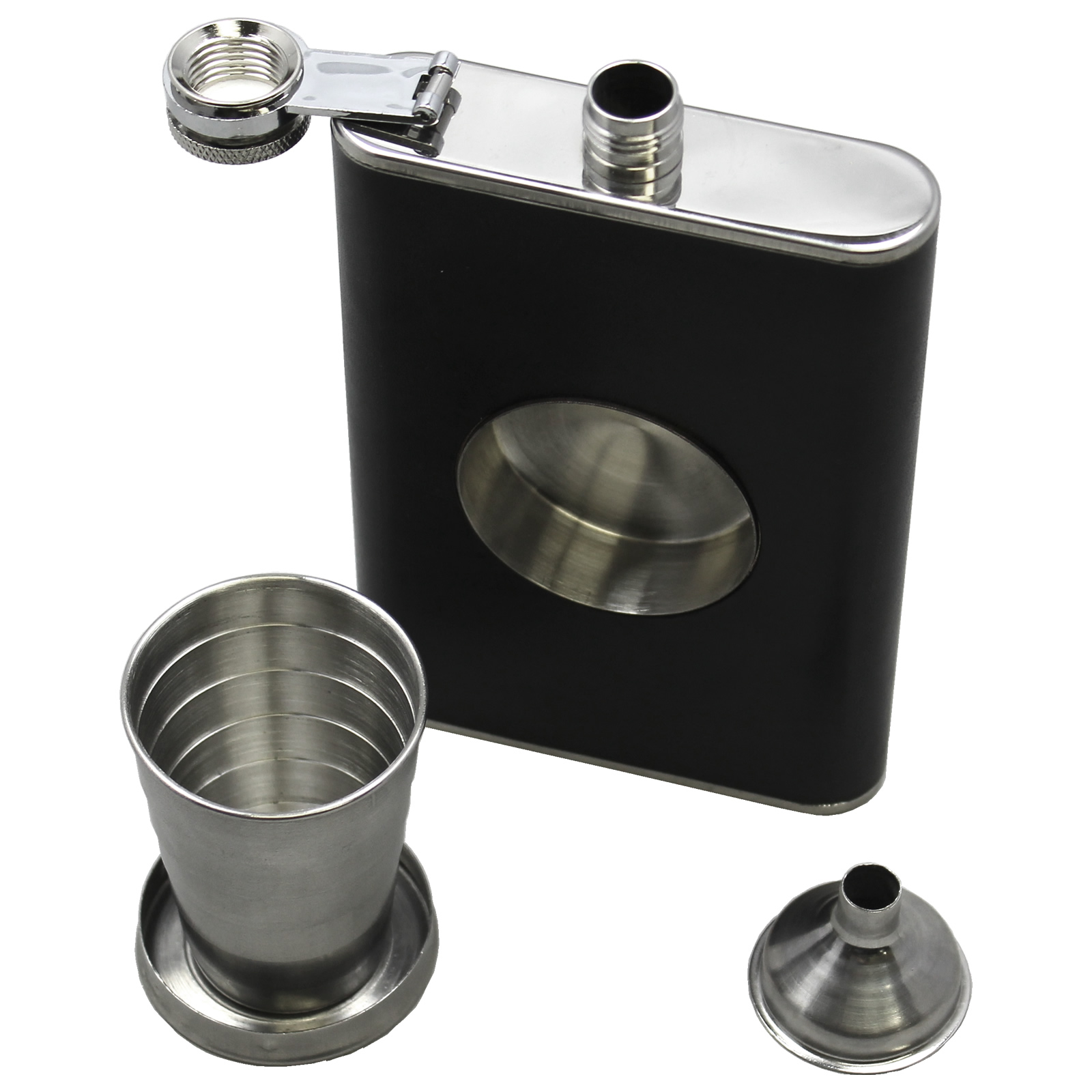 8 fluid ounce Stainless Steel Flask, with Funnel & Built-in Collapsible Shot Glass