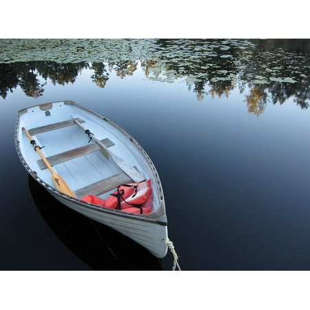 Canvas Print Peace Victoria Lake Quiet Boat Reflection Lily Stretched Canvas 10 x - Victoria Lily