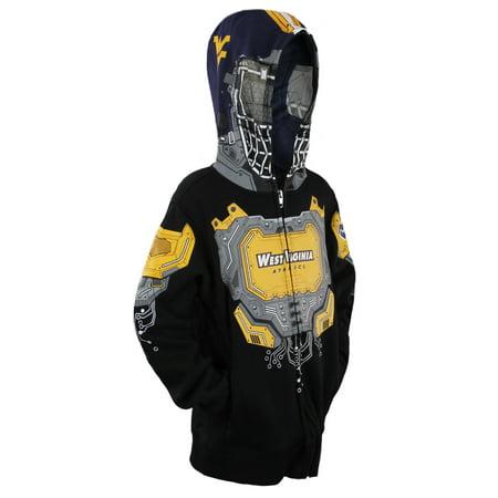 West Virginia Mountaineers Brass - NCAA Youth Boys West Virginia Mountaineers Full Zip Masked Sweatshirt Hoodie, Black