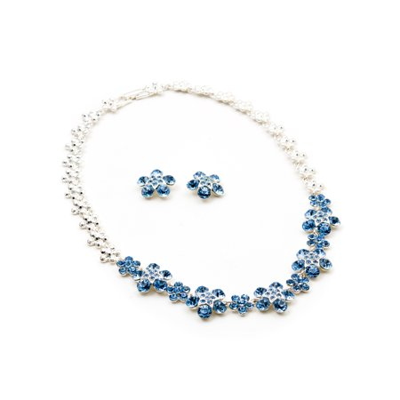 Silver Light Sapphire Rhinestone 5 Leaf Flower with Star Center Stud Earrings & Necklace Jewelry Set