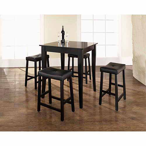 Crosley Furniture 5-Piece Pub Dining Set with Cabriole Leg and Upholstered Saddle Stools