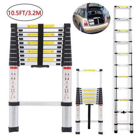 Zimtown 10.5ft Aluminum Telescoping Ladder, Lightweight Multi-Purpose Retractable Extension Step Loft /Attic Ladder, EN131 Certified 330lbs Capacity