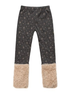 Girls' Pants with Snowflakes and Fluffy Cuffs RH0886