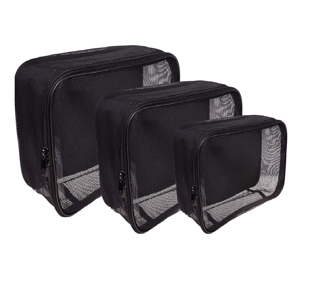 SHANY Assorted Size Cosmetics Travel Bag - Black Mesh Make Up Bag/Organizer - 3PC set