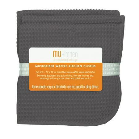 MUkitchen Microfiber Waffle Dishcloth 12 by 12-Inches Set of 3 Cadet Grey (Waffle Dishcloths)