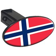 "Norway Flag, Country 1.25"" Oval Tow Trailer Hitch Cover Plug Insert"
