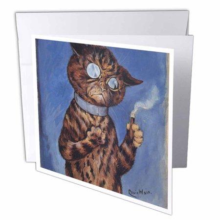 3dRose Vintage Cat Louis Wain animal art, Greeting Card, 6 x 6 inches, single