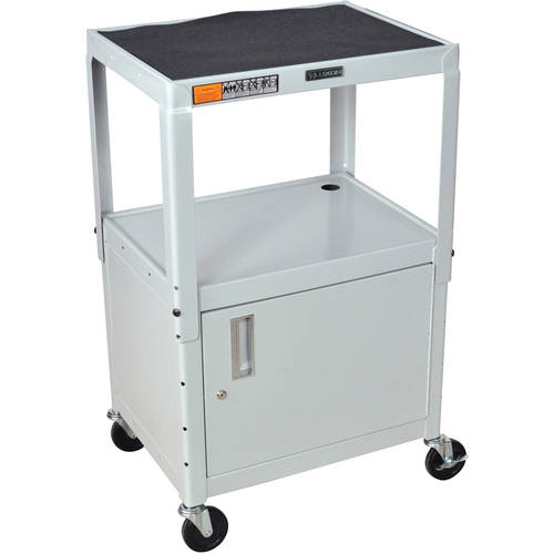 Luxor Steel Adjustable Height A/V Cart with Cabinet