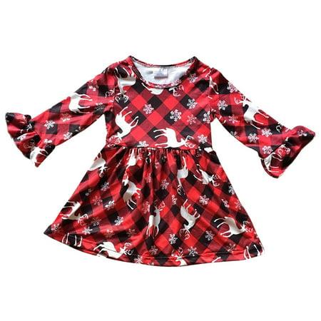 7b3258ba7f50 BNY Corner - Toddler Girl Kids Long Sleeve Plaid Christmas Reindeer Holiday  Flower Girls Dress Red 2T XS 201912 BNY Corner - Walmart.com