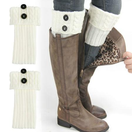 EEEkit Womens Short Boots Socks Crochet Knitted Boot Cuffs Leg Warmers Socks, White Crochet Leg Warmers