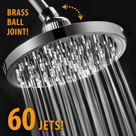 Luxury High-Pressure All-Chrome 6-inch Rainfall Shower Head with 60 Jets and Solid Brass Angle-Adjustable Ball (Angle Adjustable Go Anywhere Hand Shower Bracket)