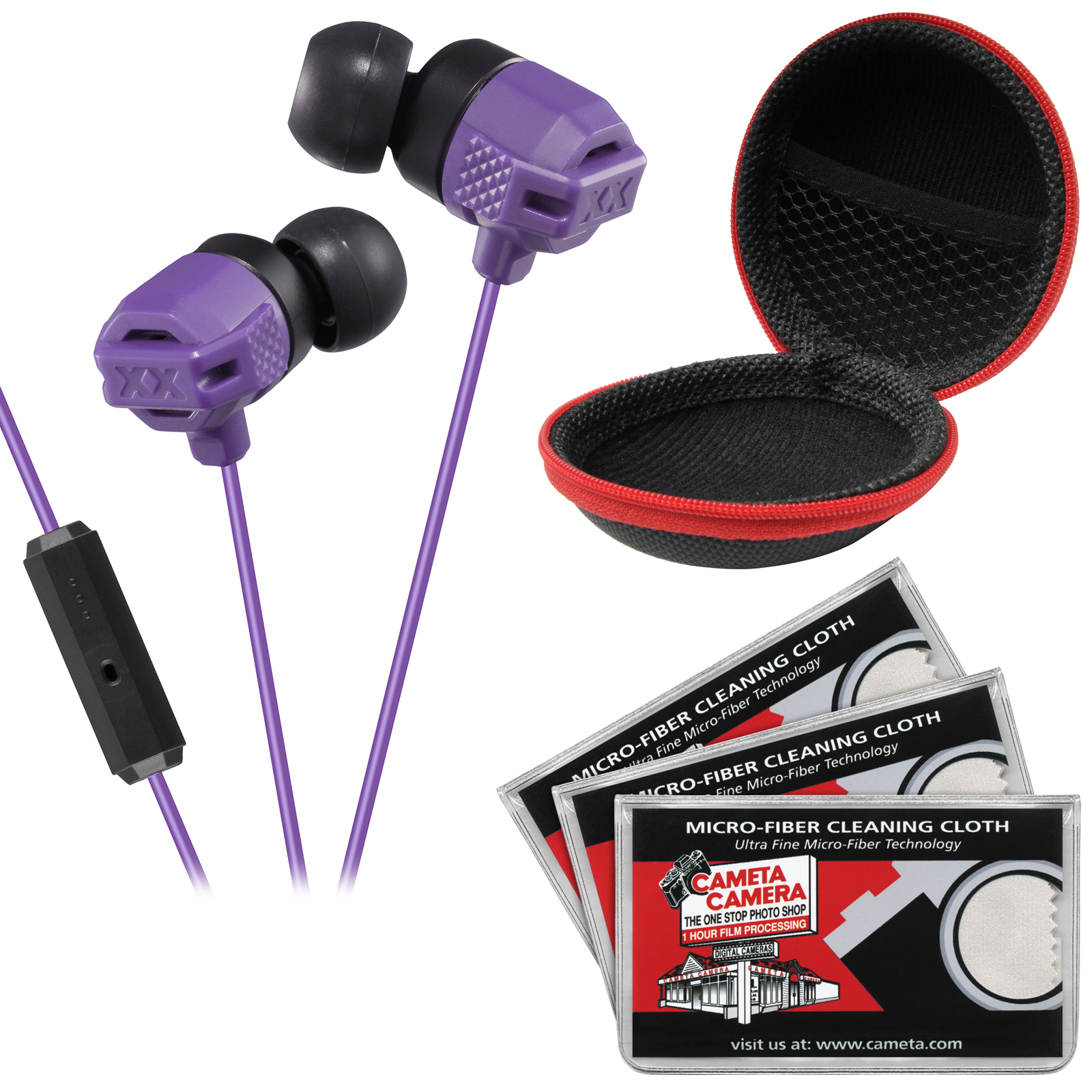 JVC HA-FR202 XTREME XPLOSIVES Inner Ear Headphones with Remote & Mic (Violet) with Case & 3 Microfiber Cloths