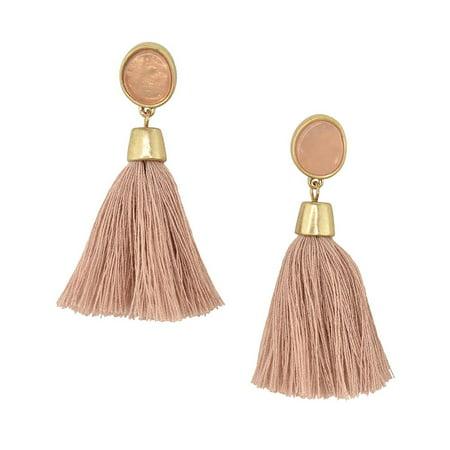 Hanging Tassel with Stone Post Earrings, 2-1/4-Inch, Dark Pink