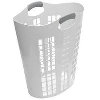 Gracious Living Easy Carry Flex 87 L Plastic Dirty Clothes Laundry Hamper, White