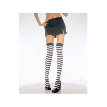 Striped Thi Hi Adult Halloween Accessory, One Size (4-14) - Green Black Striped Tights