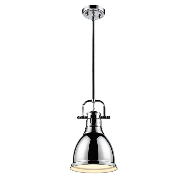 Beaumont Lane Small Pendant with Rod in Chrome with a Chrome Shade - image 3 de 3