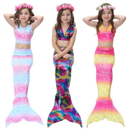 78914635ba New Kids Girls 3Pcs Mermaid Tail Swimming Bikini Set Swimwear Mono Fin  Swimmable - Walmart.com