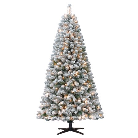 holiday time pre lit 65 crystal pine artificial christmas tree clear lights