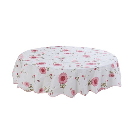 "Vinyl House Wedding Tablecloth Round Tables 60"" Dia Red Flower Pattern - image 8 de 8"