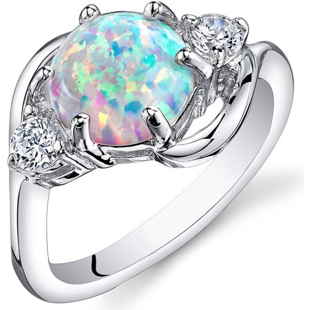 Created Alexandrite 3 Stone Ring (1.75 Ct 3 Stone Created Opal Ring in Rhodium-Plated Sterling Silver, Sizes 5-9)