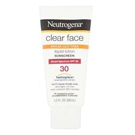 Neutrogena Clear Face Liquid Lotion Sunscreen For Acne-Prone Skin, Broad Spectrum Spf 30, 3  Fl.