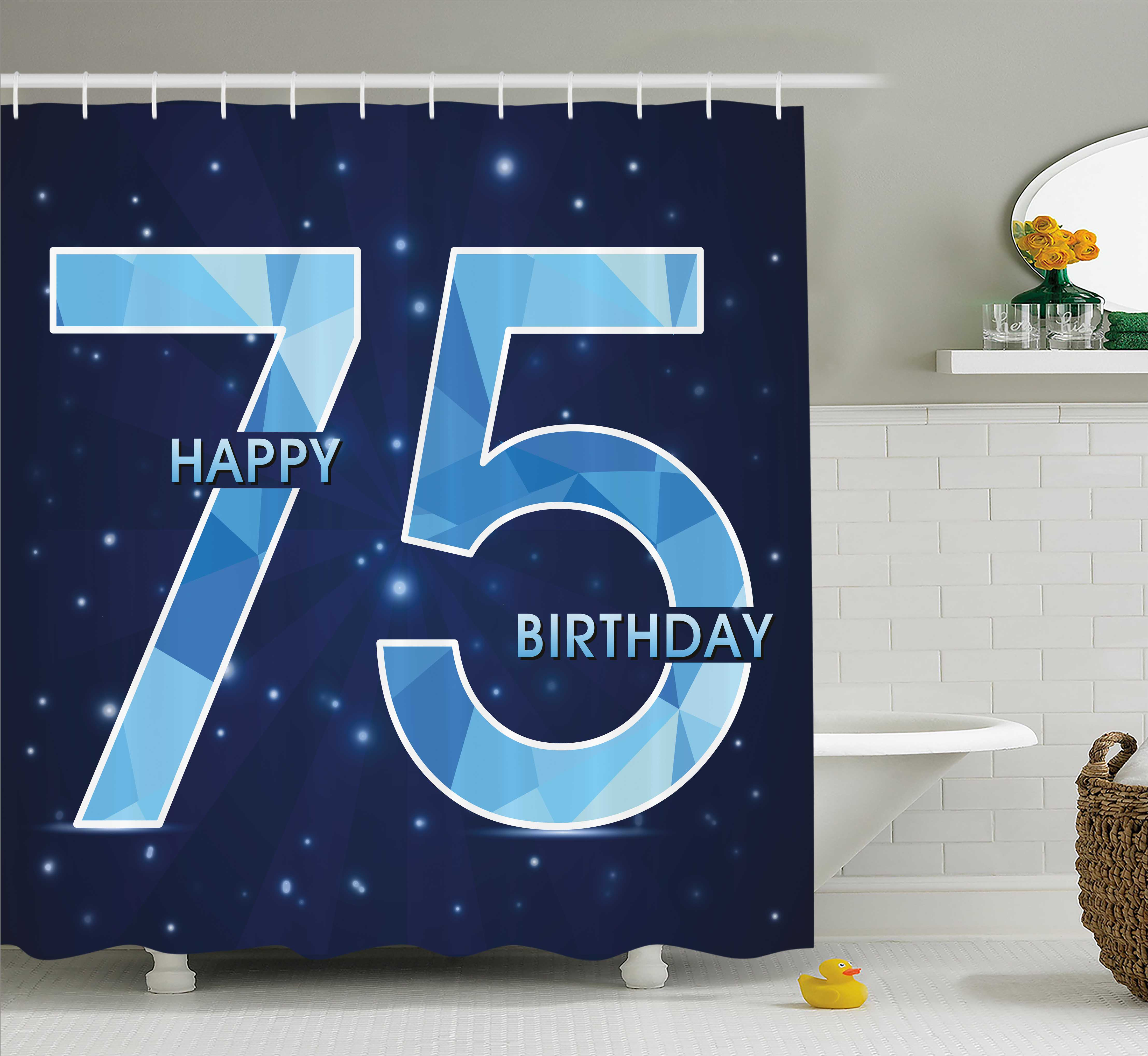 75th Birthday Decorations Shower Curtain Geometric Abstract Design