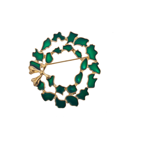 Lux Accessories Holiday Christmas Xmas Green Gold Tone Wreath Brooch