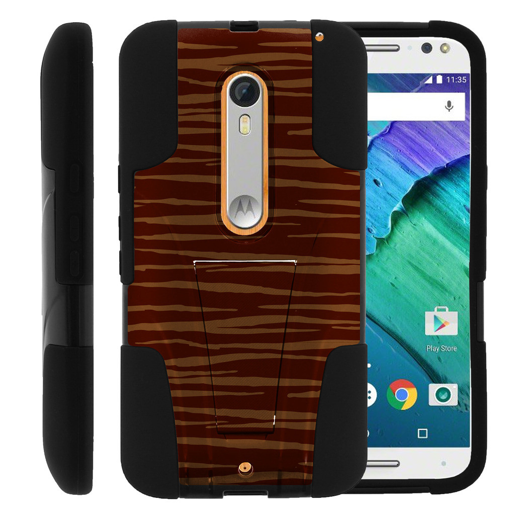 Motorola Moto X Style and Moto X Pure XT1575 STRIKE IMPACT Dual Layer Shock Absorbing Case with Built-In Kickstand - Jaguar Pattern