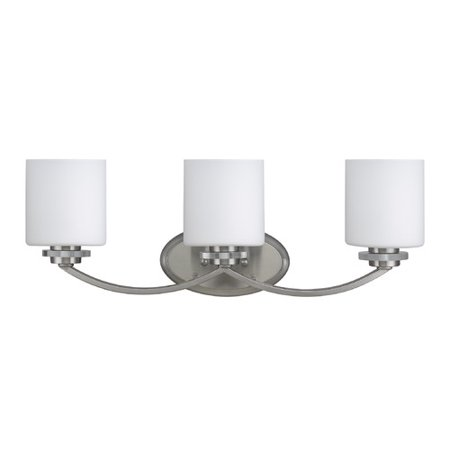 CHLOE Lighting PRUDENCE Transitional 3 Light Brushed Nickel Bath Vanity Wall Fixture White Etched Glass 25.5