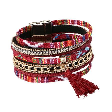 Women Stylish Magnetic Buckle Tassel Bracelet Rhinestone Hand Chain Stylish Ornament Festival Birthday Gift
