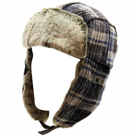 Woolrich Chenille Men's Faux Fur Royal Plaid Earflaps Trapper Hat