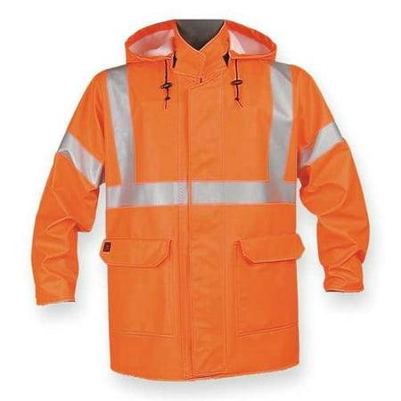 Arc Flash Personal Protective Equipment - Nasco Arc Flash Rain Jacket with Hood, Orange, Flame Resistant, S, 4503JFOS