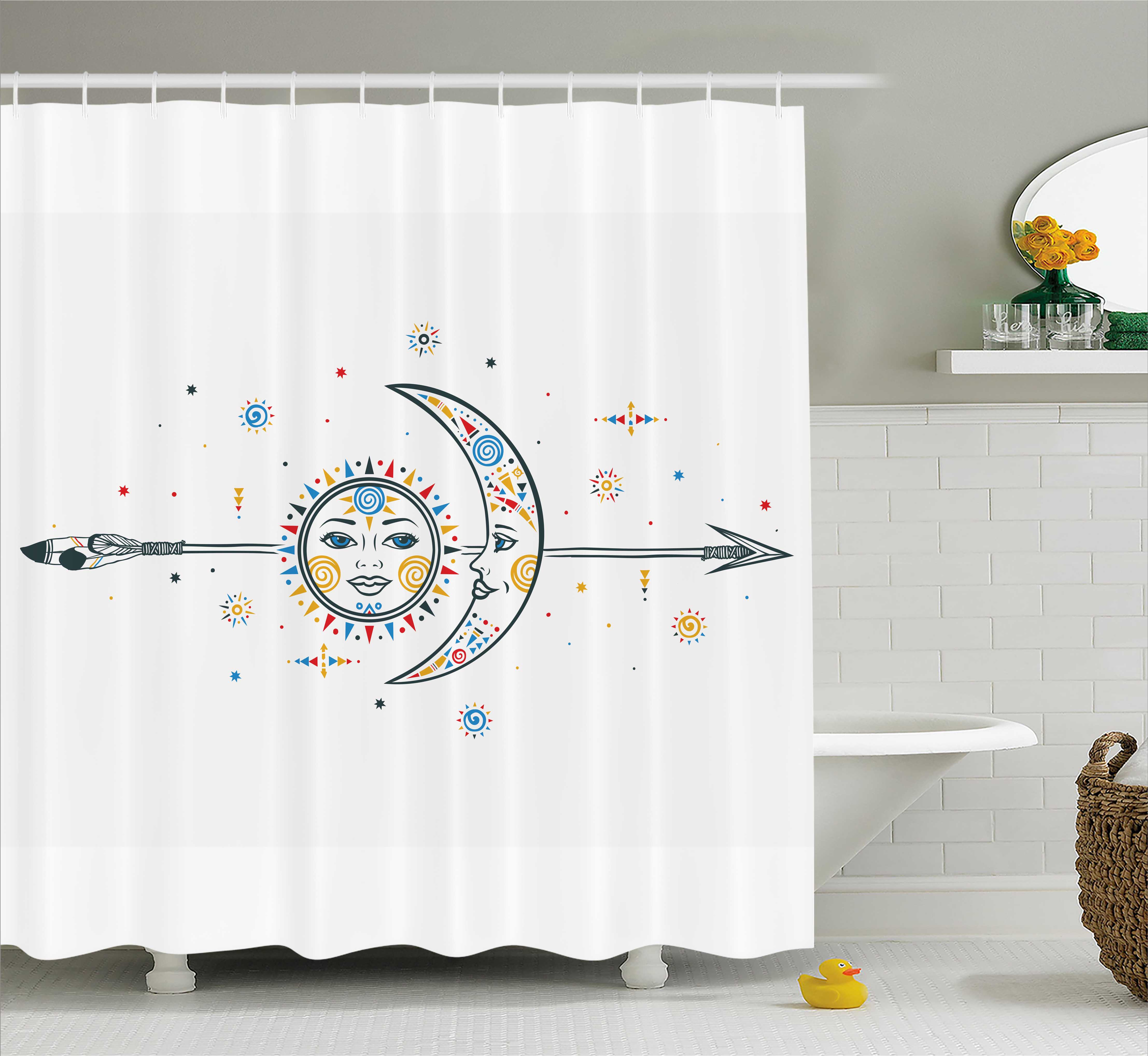 Farm House Decor Shower Curtain, Ethnic Aztec Moon Sun with Spiral Vortex Stars Sparkle Figures Occult Image, Fabric Bathroom Set with Hooks, 69W X 84L Inches Extra Long, Multi, by Ambesonne
