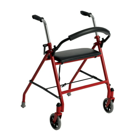 Drive Medical Two Wheeled Walker with Seat, Red (Best Walker With Seat)