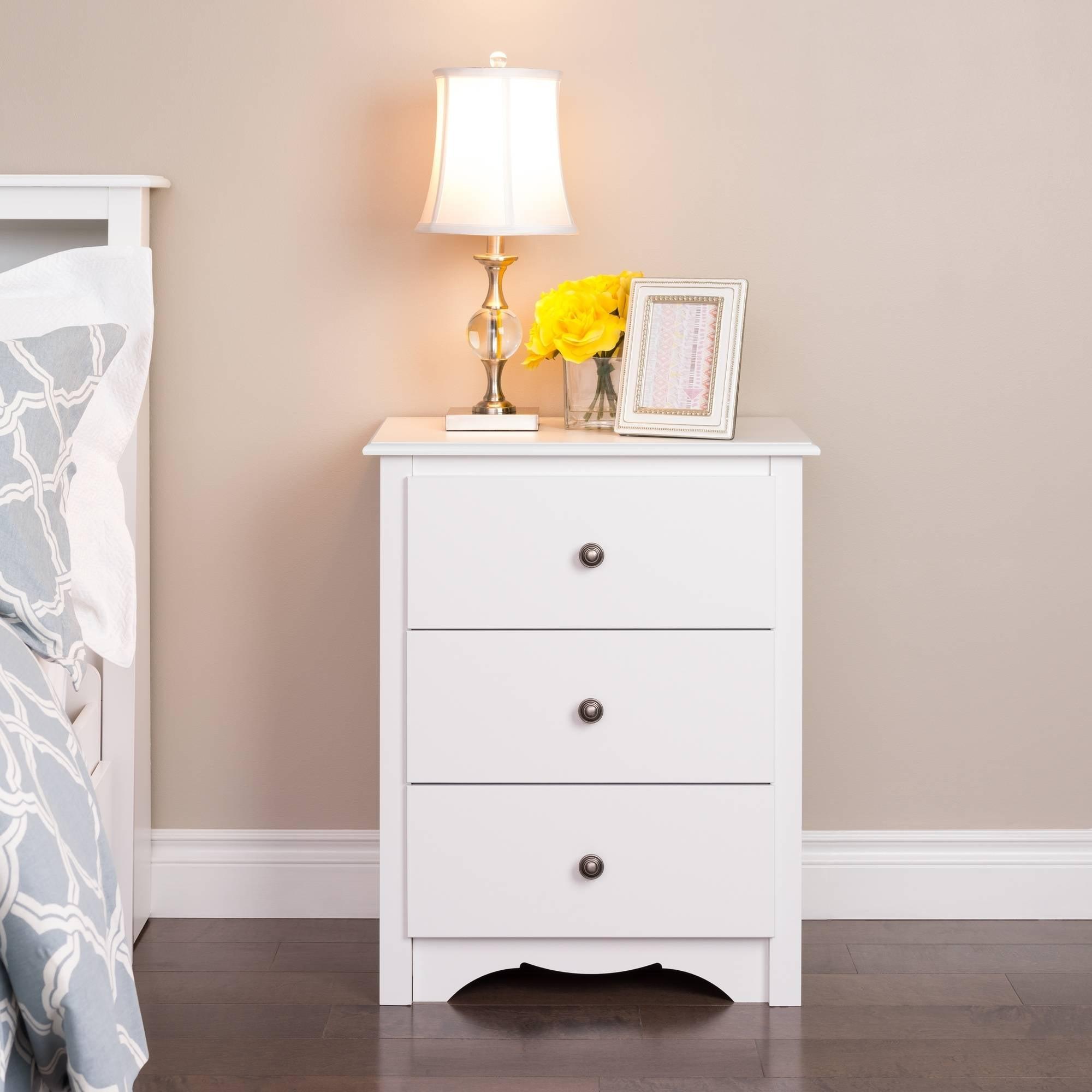 Monterey 3-Drawer Tall Nightstand, White by Prepac Manufacturing Ltd.