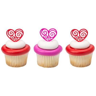 Scroll Hearts Valentine's Day Love Cupcake / Desert / Food Decoration Topper Picks -24pk