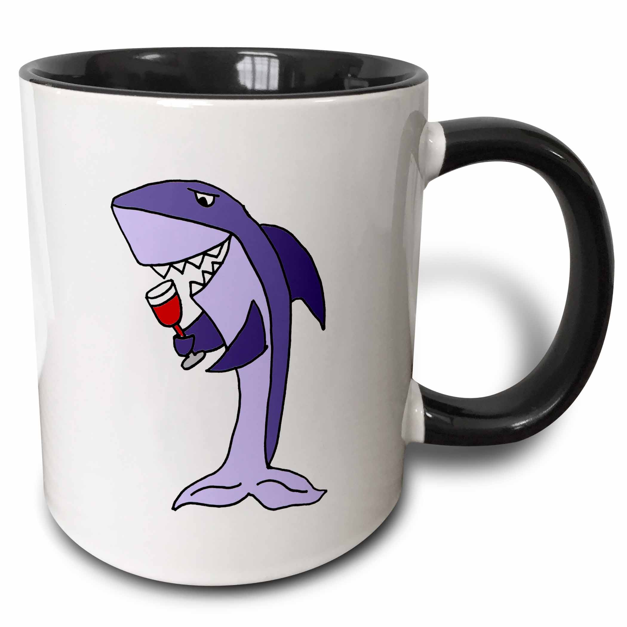 3dRose Funny Shark Drinking Glass of Red Wine - Two Tone Black Mug, 11-ounce