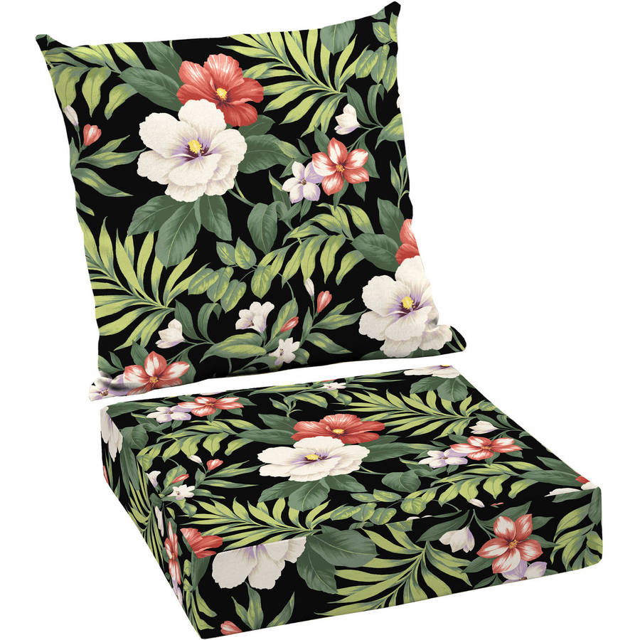 Better Homes And Gardens Outdoor Patio Deep Seat Cushion Set, Black Ground  Tropical