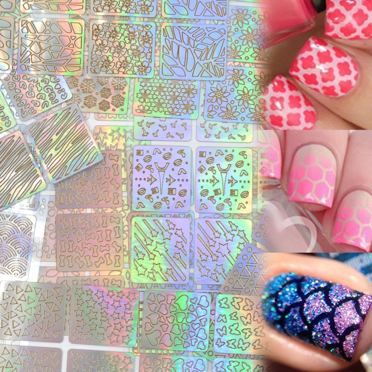 Lady Up Hollow Nail Vinyls Stencil Stickers for Nail Art Design Apply, 288 Pieces, 24 sheets with 96 Designs