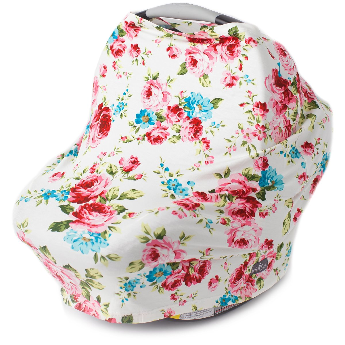 Kids N' Such Multi Use Car Seat Canopy, Nursing Cover, Shopping Cart Cover, and Breastfeeding Scarf- White Floral Carseat Canopy Cover for Baby Girls and Boys