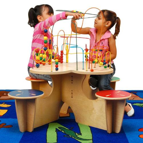 Anatex Kids Fleur Rollercoaster Group Play Multi Activity Learning Fun Table With 4 Attached Stools