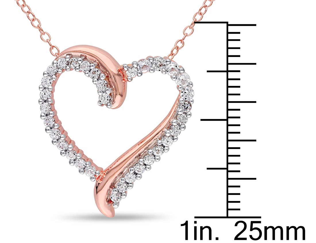 ctw Lab Created White Sapphire 3//4 Carat Pendant Necklace in Pink-plated Sterling Silver With Chain