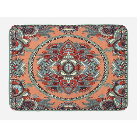 Floral Bath Mat, Ethnic Theme Ukrainian Carpet Design with Flowers Paisley Pattern Illustration, Non-Slip Plush Mat Bathroom Kitchen Laundry Room Decor, 29.5 X 17.5 Inches, Salmon Sky Blue, Ambesonne