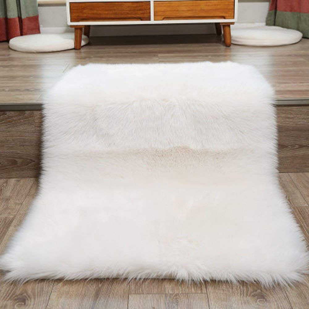 Popeven Faux Fur Rug 80 X 150 cm Decorative Soft Fluffy Rug Shaggy Rugs Faux Sheepskin Rugs Floor Carpet for Living Room Bedrooms Decor (White)